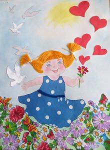 Рисунок-Аппликация Храните, люди, доброту в сердцах детей (Еремина Виктория) заявка №  12